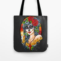 day of the dead Tote Bags featuring Day of the Dead by Little Lost Forest