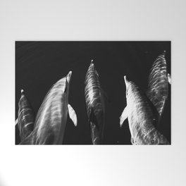 Black and white dolphins Welcome Mat