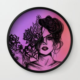Sunset Succulent Babe | Sunset | Succulents | Cacti | Cactus | Succulent | Portrait | Pink | Orange Wall Clock