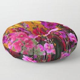 BUTTERFLIES IN PURPLE-PINK  FLOWERS GARDEN Floor Pillow