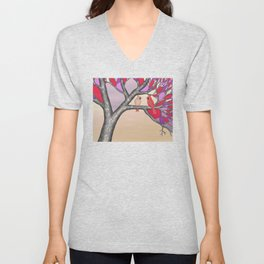 northern cardinals in the stained glass tree Unisex V-Neck