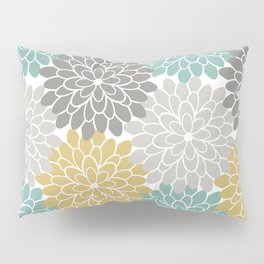 Pastel Petals in Light Amber, Light Opal, Pale and Dark Grey Pillow Sham