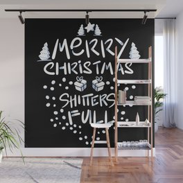 Merry Christmas Shtters Full Wall Mural