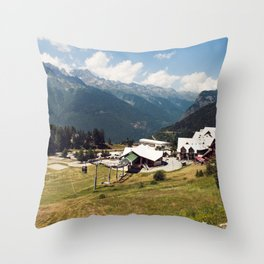A Skilift Among French Alpine Mountains Throw Pillow