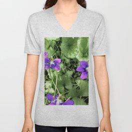 Wild Violets With Attitude Unisex V-Neck