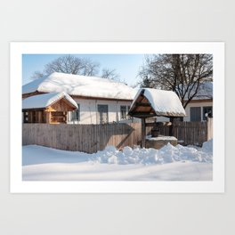 Sunny day at a beautiful heritage Romanian house covered in heavy snow Art Print