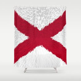 Extruded flag of Alabama Shower Curtain