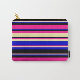 Deep Pink, Pale Goldenrod, Blue, and Black Colored Striped/Lined Pattern Carry-All Pouch