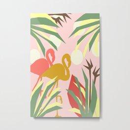 Flamingo jungle pink coral Metal Print