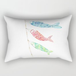 Watercolor Japan Carp Streamers / Koinobori Rectangular Pillow