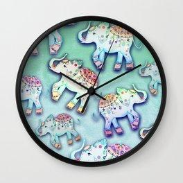 ELEPHANT PARTY MINT Wall Clock