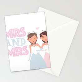 Mrs and Mrs lesbian gay wedding Stationery Cards