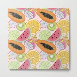 Fruits Set Pattern Metal Print