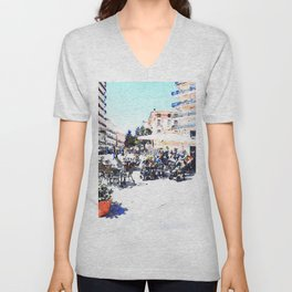 Square among the buildings of Agropoli Unisex V-Neck