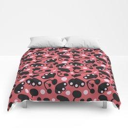 minimalistic black and red Scandinavian floral pattern design HAJDI Comforters