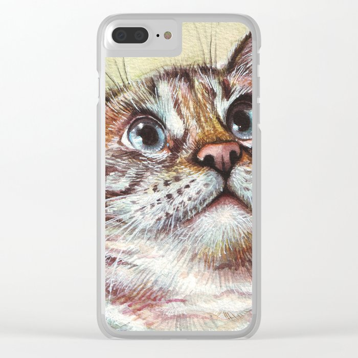 Cat Watercolor Clear iPhone Case