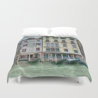 postcard Duvet Covers featuring Postcard from Venice Italy by Elliott's Location Photography
