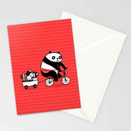 Cacti delivery. Panda on bicycle. Stationery Cards