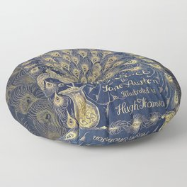 Pride and Prejudice by Jane Austen Vintage Peacock Book Cover Floor Pillow