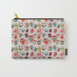 pattern with colorful owls on cream background Carry-All Pouch
