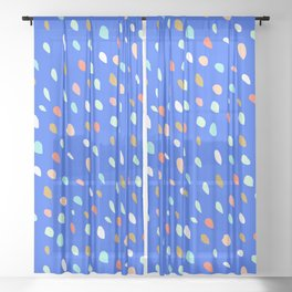Blue Party Paint Dots Sheer Curtain