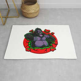 Angry gorilla breaking the wall Rug