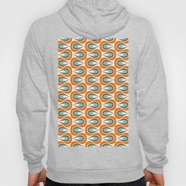 Retro Mid Century Modern Geometric Flame in Orange and Turquoise Hoody