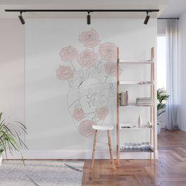 Heart anatomy with pink roses Wall Mural
