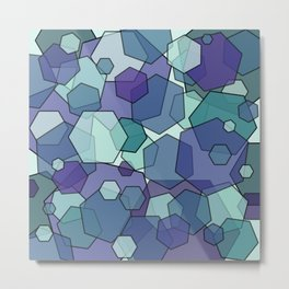 Converging Hexes - teal and purple Metal Print