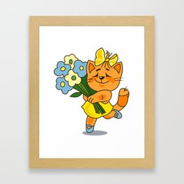 Cat with a bunch of flowers Framed Art Print