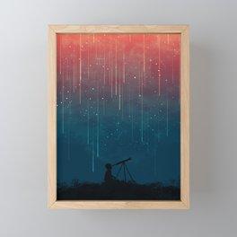 Meteor rain Framed Mini Art Print