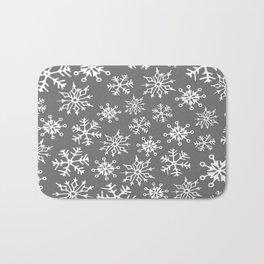 Snowflakes Pattern (Light Gray) Bath Mat