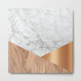 Geometric White Marble - Wood & Rose Gold #761 Metal Print