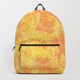 Spring pastels gently orange and yellow circles and ellipses with the image of abstract flowers. Backpack