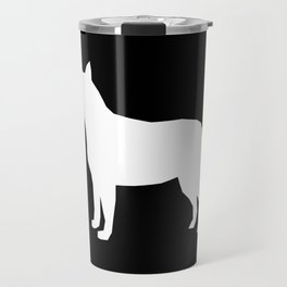Australian Cattle Dog silhouette portrait dog pattern grey and white Travel Mug