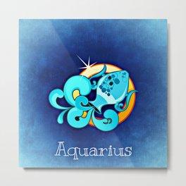 Zodiac_Sign_Aquarius Metal Print