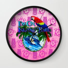 Pink Tiki Island Time Surfing Wall Clock