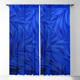 Palm Tree Fronds Brilliant Blue on Blue Hawaii Tropical Décor Blackout Curtain