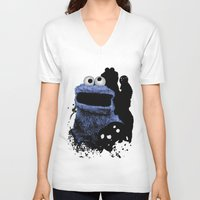 cookie monster V-neck T-shirts featuring Monster Madness: Cookie Monster by SB Art Productions