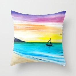 Rainbow Sunrise Acrylic Throw Pillow