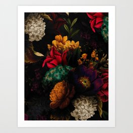 Midnight Hours Dark Vintage Flowers Garden Art Print