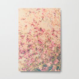 Vintage Pink Crabapple Tree Blossoms in the Sun Metal Print