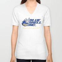 mario kart V-neck T-shirts featuring Mario Kart: Blue Shell Inc (no distressing) by Macaluso