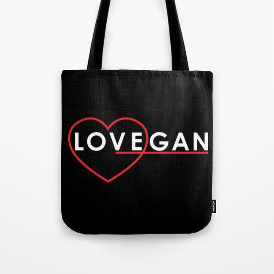 Lovegan (Love Vegan), on black Tote Bag