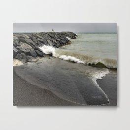 Huron Wave on Breakwall Metal Print