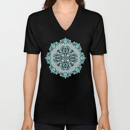 Teal and Aqua Lace Mandala on Grey Unisex V-Neck