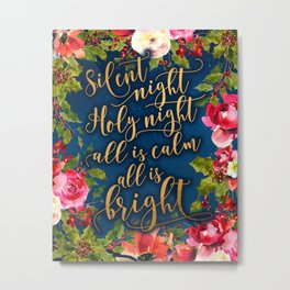 Silent night, pink florals and calligraphy Metal Print