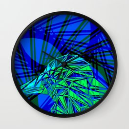 Light abstract from green bird and blue chaotic lines. Wall Clock
