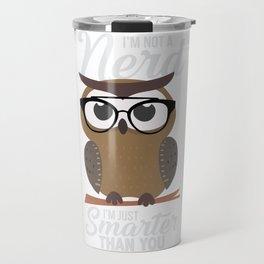 nerdy owl intelligent smart reading funny gift Travel Mug