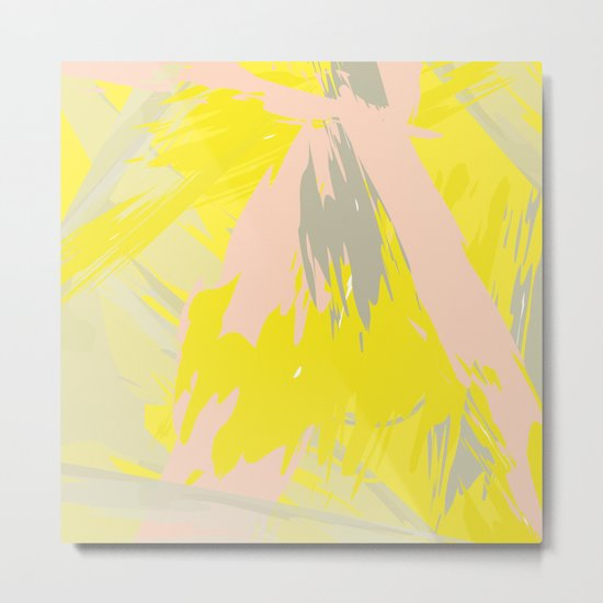 Lovely Summer - Abstract - Coral, Yellow, Sand Metal Print